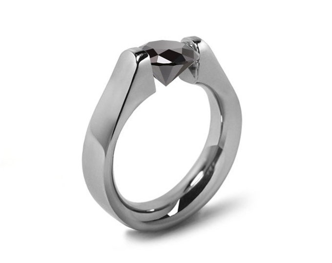 1.5ct Black Onyx High setting Tension Set Engagement Ring
