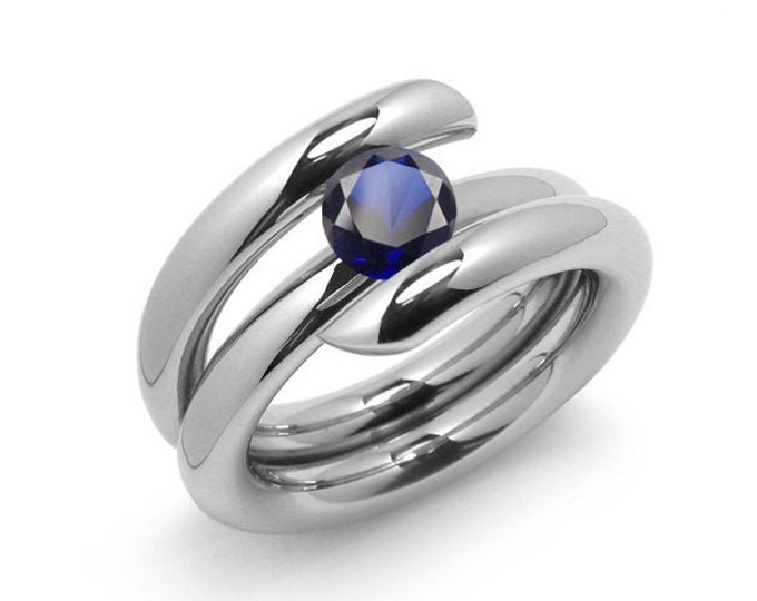 1.5ct Blue Sapphire High Setting Bypass Tension Set Ring in Stainless Steel by Taormina Jewelry