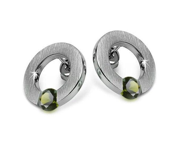 Modern Peridot Tension Set Round Stud Earrings in Stainless Steel by Taormina Jewelry