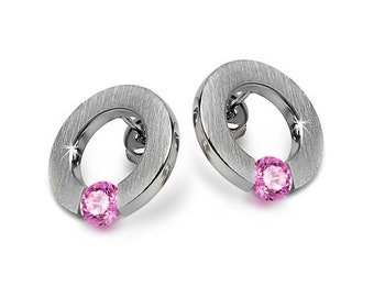 Pink Sapphire Flat Round Tension Set Earrings Steel Stainless by Taormina Jewelry
