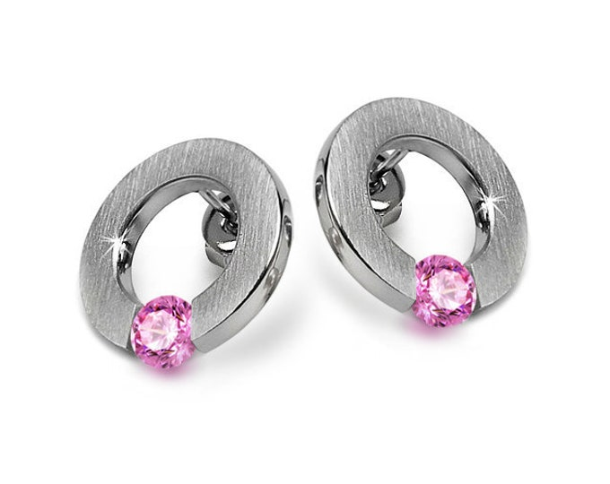 Pink Sapphire Flat Round Tension Set Earrings Steel Stainless