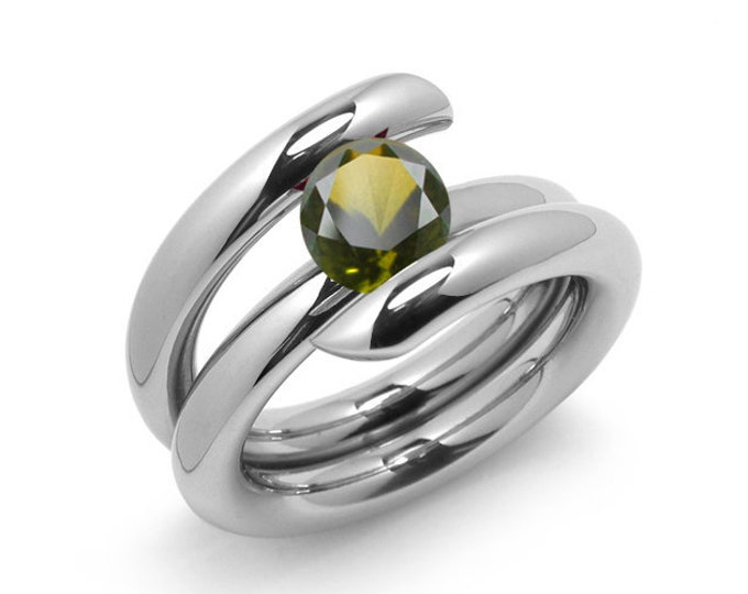 1.5ct Peridot High Setting Bypass Tension Set Ring in Stainless Steel by Taormina Jewelry