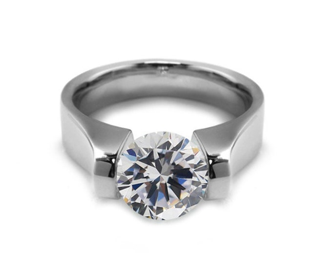 2ct Contemporary White Sapphire Engagement Ring Tension Set Steel by Taormina Jewelry