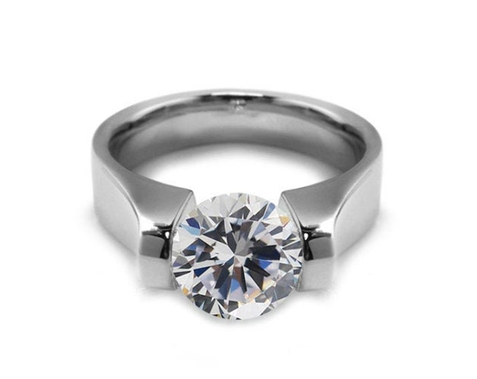 1.5ct White Sapphire High setting Tension Set Engagement Ring by Taormina Jewelry