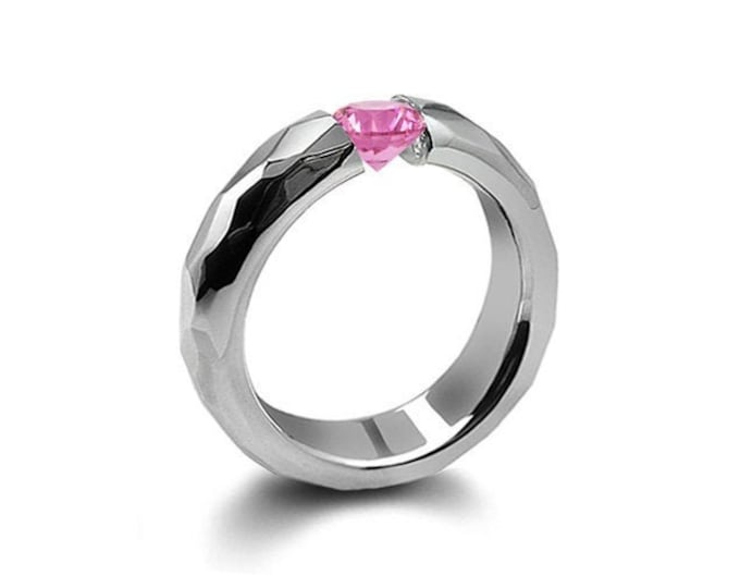 0.75ct Pink Sapphire Tension Set Hammered Stainless Steel Mounting by Taormina Jewelry