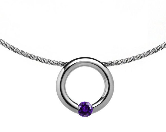 Amethyst Tension Set Pendant  with Stainless Steel Cable choker by Taormina Jewelry