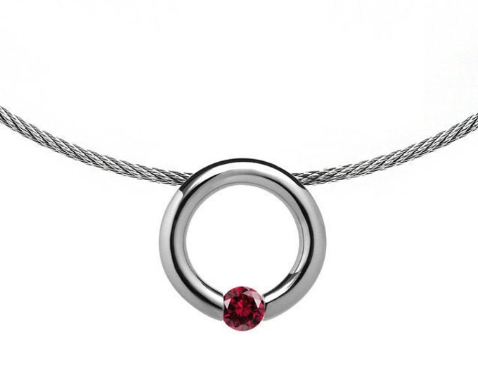 Garnet Tension Set Pendant  with Stainless Steel Cable choker by Taormina Jewelry