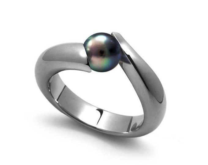 Black Pearl Bypass Tension Set Tapered Ring in Stainless Steel by Taormina Jewelry