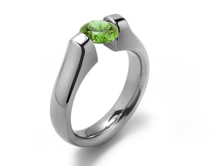 1ct Peridot Tension Set Ring Stainless Steel