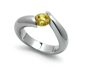 1ct Bypass Yellow Sapphire Tension Set Ring in Two Tone Stainless Steel