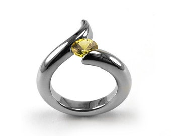 1ct Yellow Sapphire Bypass Swirl Tension Set Ring in Stainless Steel