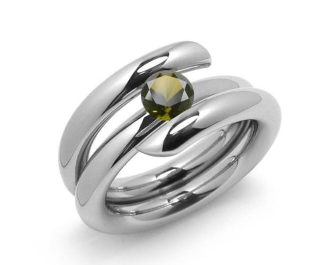 1ct Peridot High Setting Bypass Tension Set Ring in Stainless Steel by Taormina Jewelry