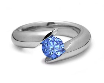 1ct Blue Topaz Bypass Tension Set Ring in Stainless Steel