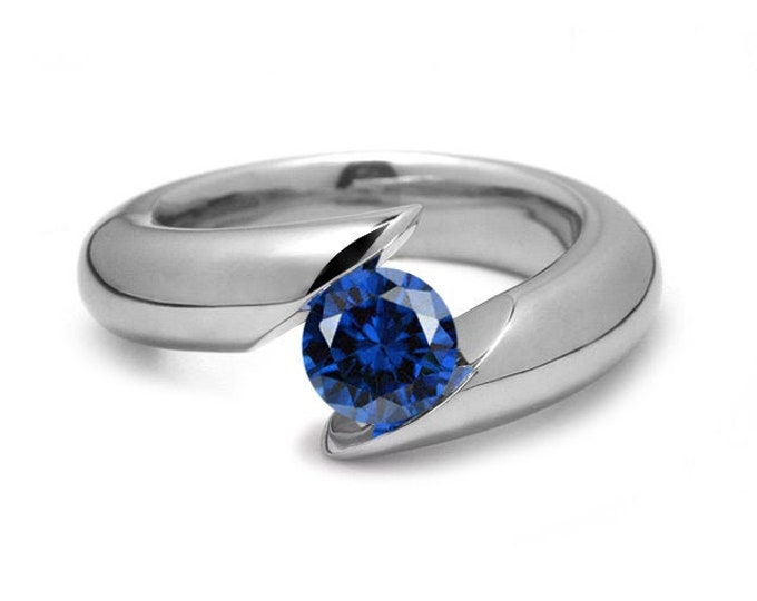1ct Blue Sapphire Bypass Tension Set Ring in Stainless Steel