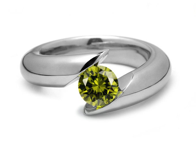 1ct Peridot Bypass Tension Set Ring in Stainless Steel