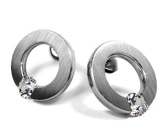 White Sapphire Stud Post Tension Set Earrings Steel Stainless