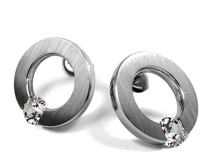 White Sapphire Stud Post Tension Set Earrings Steel Stainless