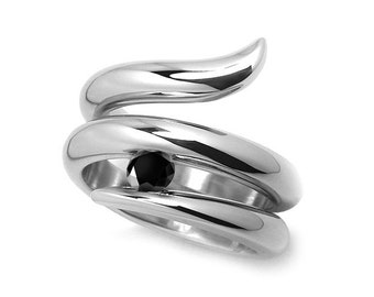0.50ct Black Onyx Tension set Statement Snake shaped Ring in Stainless Steel by Taormina Jewelry