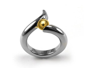 Gold and Stainless Steel swirl bypass Ring Tension Set