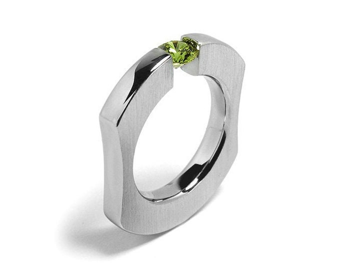 1ct Peridot Ergonomic Tension Set Ring in Stainless Steel by Taormina Jewelry