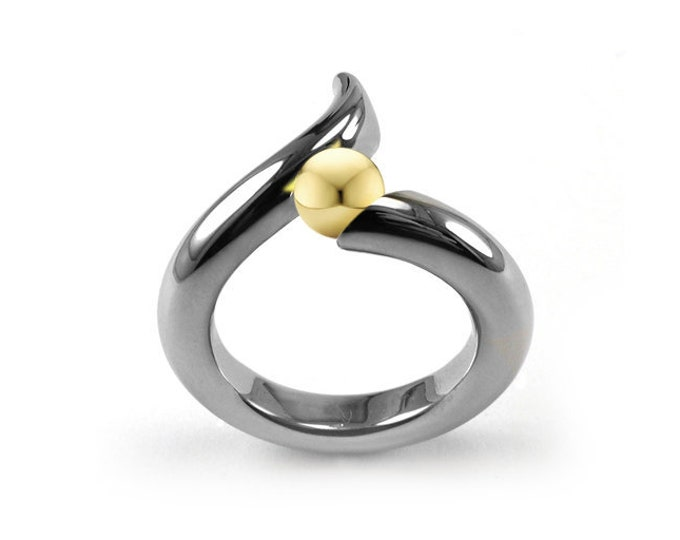 Gold and Stainless Steel swirl bypass Ring Tension Set by Taormina Jewelry