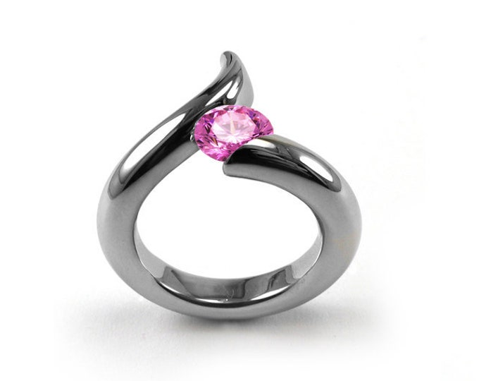 1ct Pink Sapphire Bypass Swirl Tension Set Ring in Stainless Steel by Taormina Jewelry