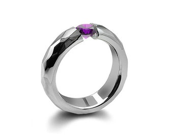 0.75ct Amethyst Tension Set Hammered Stainless Steel Mounting