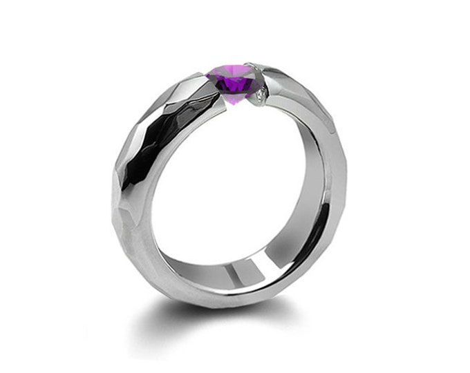 0.75ct Amethyst Tension Set Hammered Stainless Steel Mounting by Taormina Jewelry