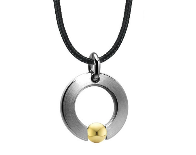 Tension Set Flat Circle Pendant in Stainless Steel & Gold by Taormina Jewelry