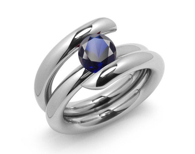 2ct Blue Sapphire High Setting Bypass Tension Set Ring in Stainless Steel by Taormina Jewelry