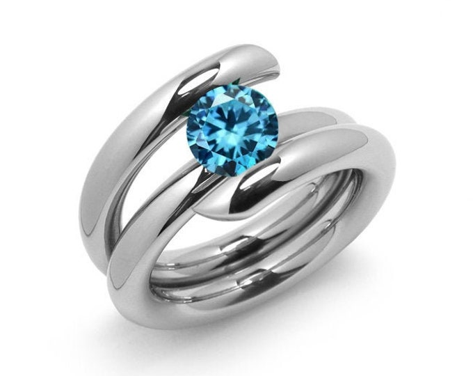 1ct Blue Topaz High Setting Bypass Tension Set Ring in Stainless Steel
