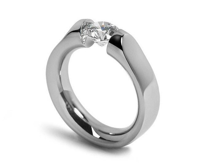 1ct White Sapphire Tension Set Ring Comfort Fit Stainless Steel by Taormina Jewelry