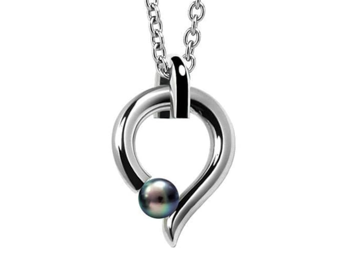 Tension Set Black Pearl and Stainless Steel Pendant