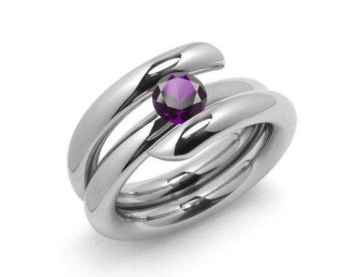 1ct Amethyst High Setting Bypass Tension Set Ring in Stainless Steel by Taormina Jewelry