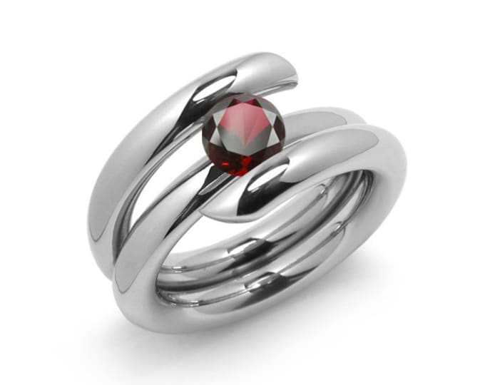 1.5ct Garnet High Setting Bypass Tension Set Ring in Stainless Steel by Taormina Jewelry