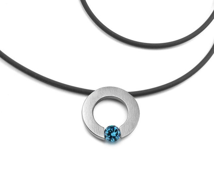 Blue Topaz Tension Set Necklace in Stainless Steel by Taormina Jewelry