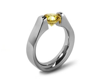 1.5ct Yellow Sapphire High setting Tension Set Engagement Ring by Taormina Jewelry