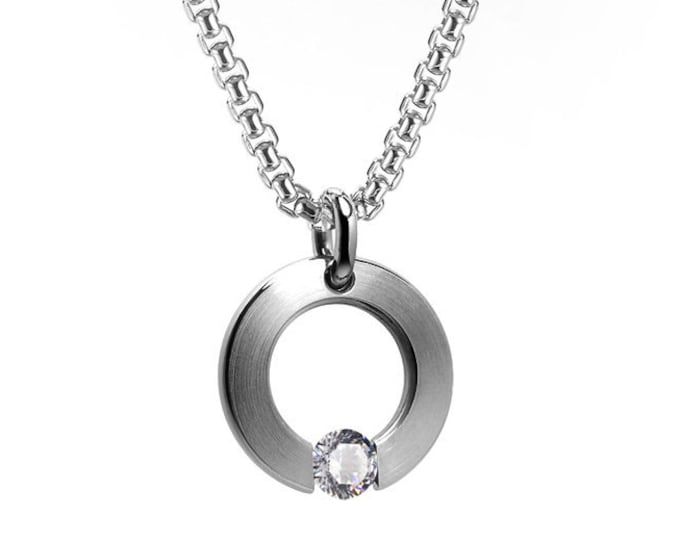White Sapphire Tension Set Round Flat Pendant in Stainless Steel