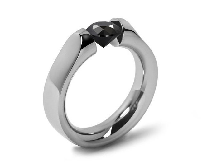 1ct Black Diamond Tension Set Ring Comfort Fit Stainless Steel by Taormina Jewelry