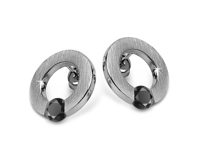 Black Onyx Flat Circle Tension Set Earrings in Stainless Steel