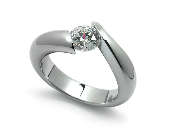 1ct Bypass White Sapphire Tension Set Ring in Two Tone Stainless Steel by Taormina Jewelry