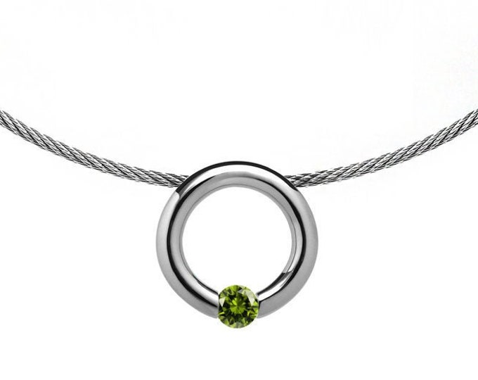 Peridot Tension Set Pendant  with Stainless Steel Cable choker by Taormina Jewelry