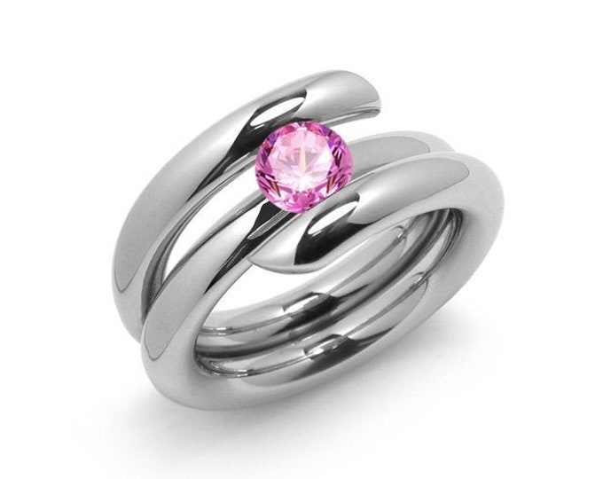 1ct Pink Sapphire High Setting Bypass Tension Set Ring in Stainless Steel by Taormina Jewelry
