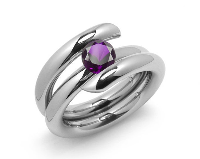 1.5ct Amethyst High Setting Bypass Tension Set Ring in Stainless Steel by Taormina Jewelry