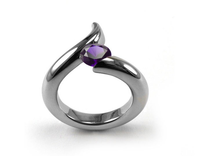 1ct Amethyst  Bypass Swirl Tension Set Ring in Stainless Steel