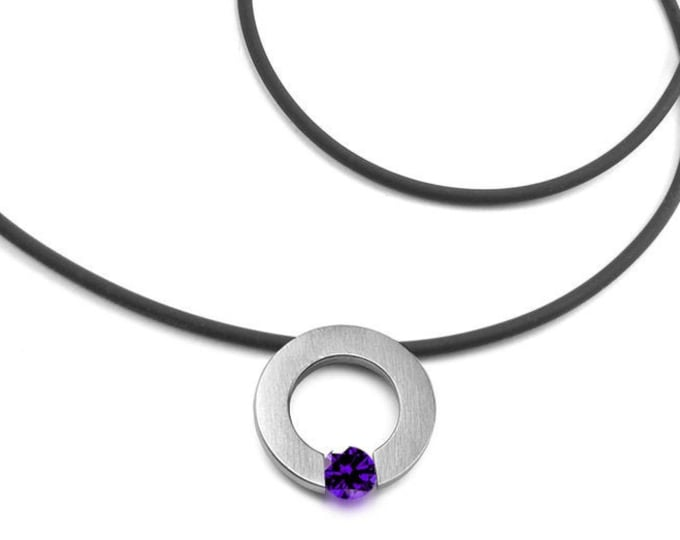 Amethyst Tension Set Necklace in Stainless Steel by Taormina Jewelry