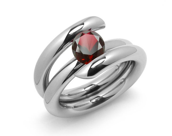 2ct Garnet High Setting Bypass Tension Set Ring in Stainless Steel by Taormina Jewelry