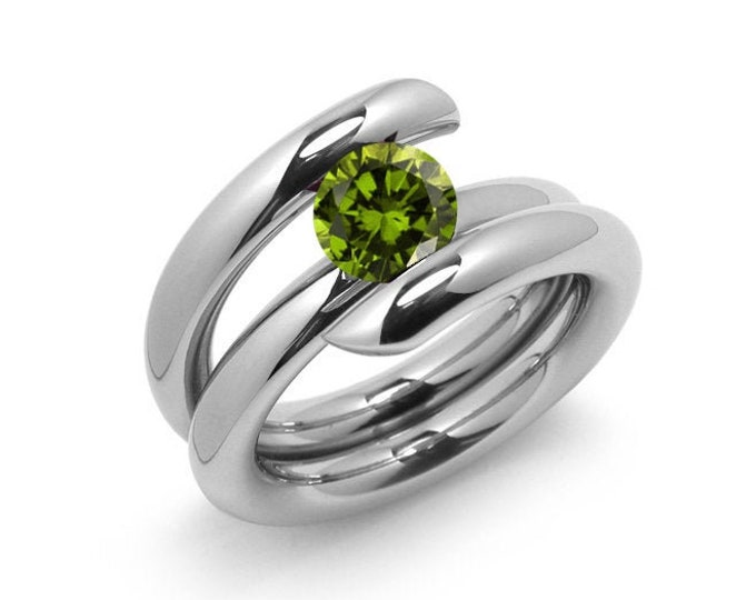 1.5ct Peridot High Setting Bypass Tension Set Ring in Stainless Steel