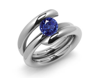 1ct Blue Sapphire High Setting Bypass Tension Set Ring in Stainless Steel