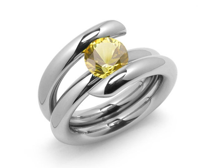 2ct Yellow Sapphire High Setting Bypass Tension Set Ring in Stainless Steel by Taormina Jewelry